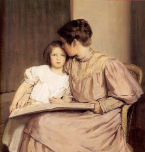 mother and child with book